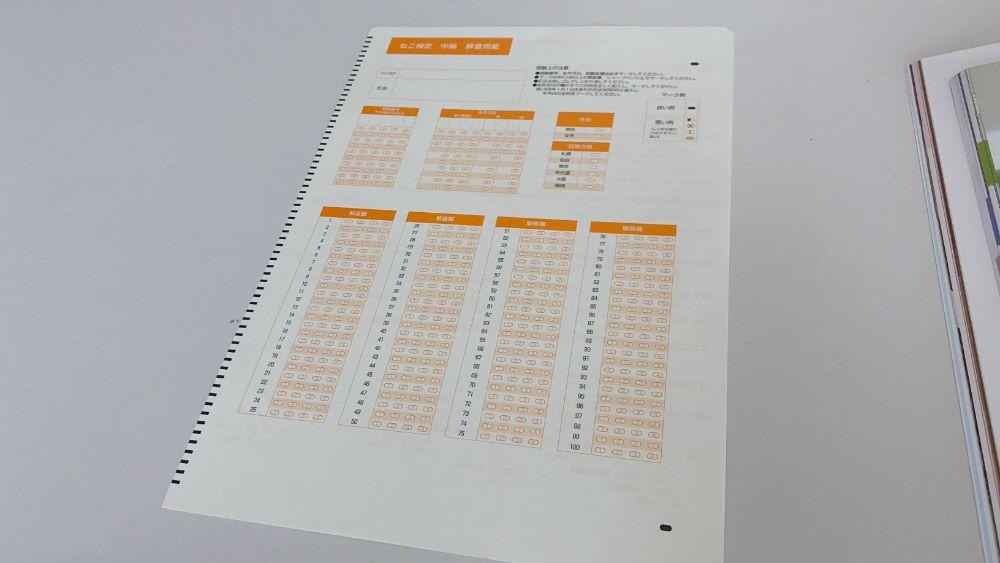ねこ検定解答用紙