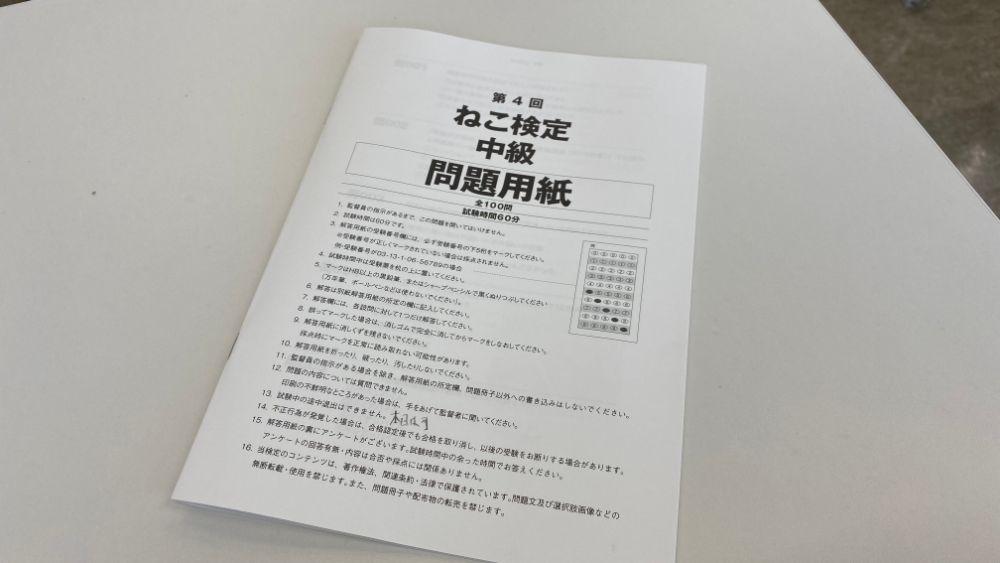 ねこ検定中級問題用紙