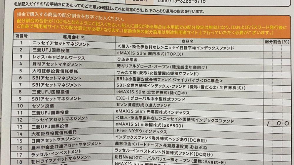 商品の運用指図