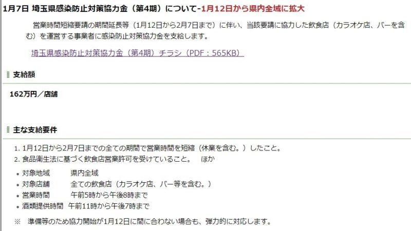 埼玉県感染防止対策協力金 (第4期)